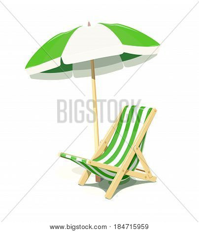 Beach chair and umbrella for summer rest, isolated white background.