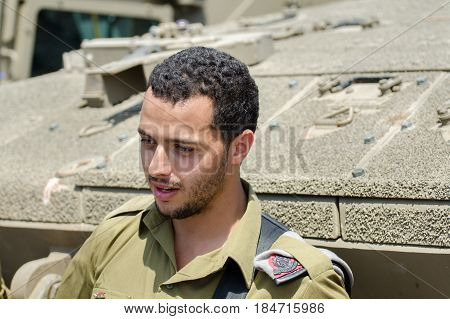 Unidentified Israeli Soldier Near  Tank Armour At Latrun Armored Corps Museum