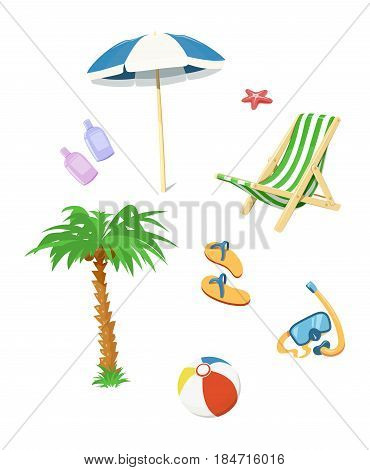 Summer time accessory. Flip flops, umbrella, chair, cream for beach.