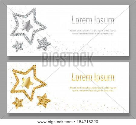 Vector illustration. Elements for banner design logo card web invitation business party. Leaflets with stars of silver gold confetti sparkles glitter and space for text on white background.