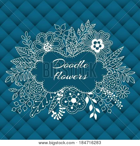 Floral card design flowers and leaf doodle elements. Cute bouquet made of flowers and leaves. Vector decorative invitation with volumetric leather background. Use for card greeting invitation wedding party hen-party mother's day valentine