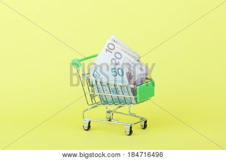 Polish Zloty In The Shopping Pushcart, Yellow Background