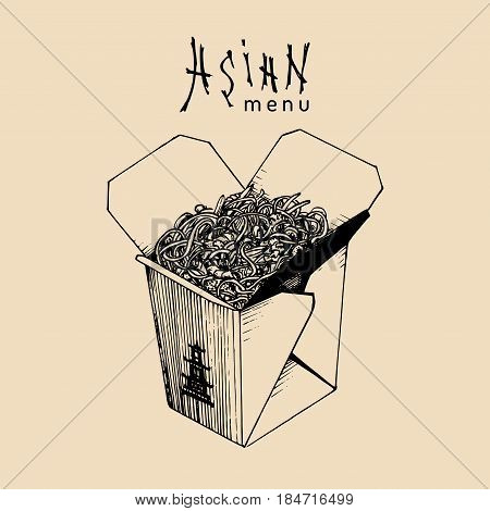 Vector noodles box illustration. Wok with Asian menu text. Chinese pasta logo. Japanese food take-out carton sketch