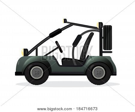 Off road buggy car isolated vector illustration. Outdoor auto racing, extreme terrain vehicle, 4x4 automobile design element.