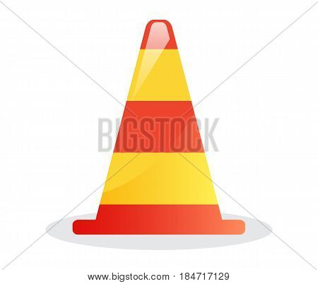 Striped traffic cone icon isolated vector illustration on white background. Safety road sign, under construction element in flat style