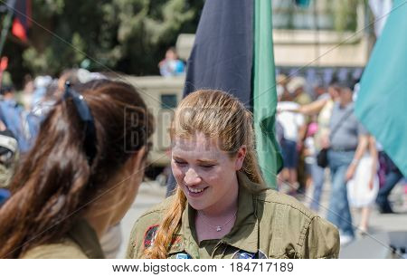 Unidentified Israeli Redhead Girl Soldier Talk With Another Girl Soldier At Latrun Armored Corps Mus