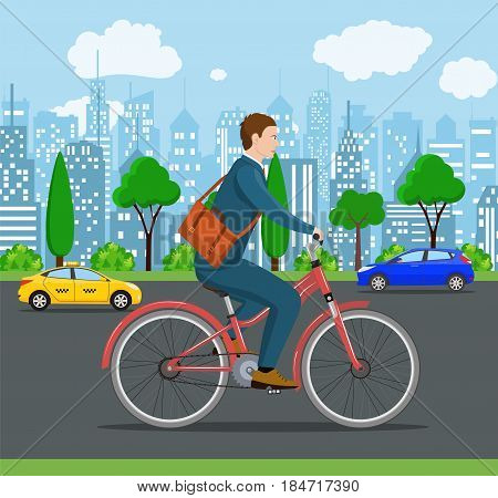 City style businessman with bag riding bicycle the streets of the city. Bike to work poster. Including beautiful european cityscape background.