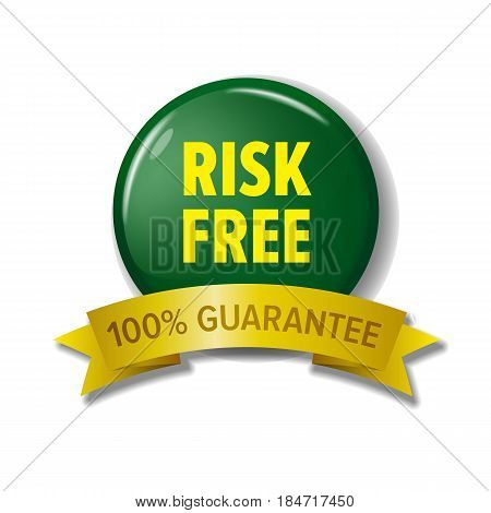 Risk free label in green and yellow colors. Round button with ribbon at the bottom, safe deal tag. Sign for web shops and sites, money back guarantee. Vector image isolated on white background.