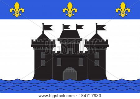 Flag of Bellac is a commune in the Haute-Vienne department in the Nouvelle-Aquitaine region in western France. Vector illustration