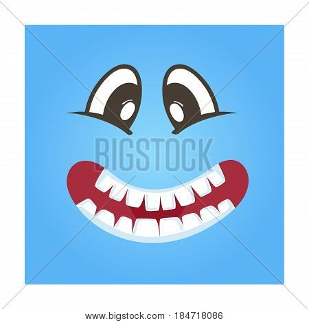 Playful smiley face vector icon. Funny facial expression emoji, cute comic emoticon isolated vector illustration.