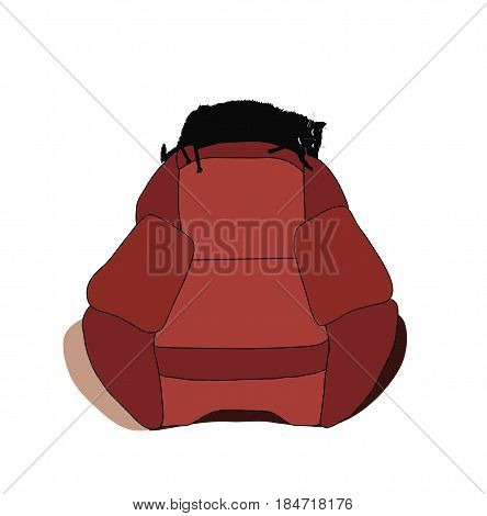 Cat stretched out on the back of chair and sleeping. Eps 8. Vector illustration.