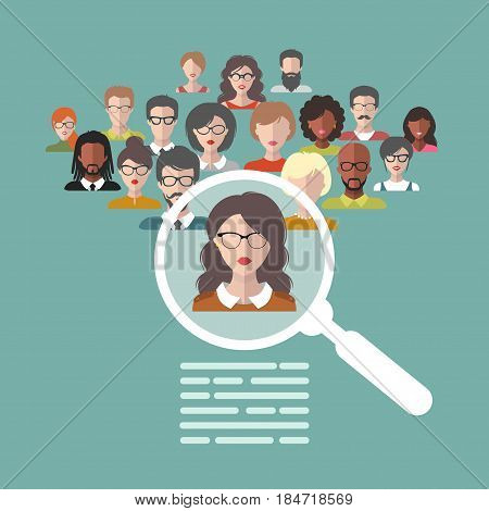 Vector illustration concept of human resources management, professional staff research, head hunter job with magnifying glass in flat style.