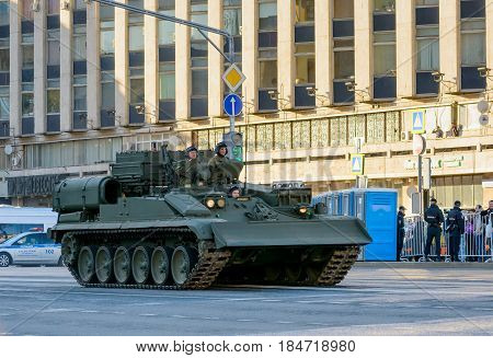 MOSCOW, RUSSIA - MAY 3, 2017: Rehearsal of the Victory Day 9 May parade at Tverskaya street, with Russian new military vehicles
