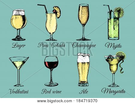 Hand sketched alcoholic beverages and cocktails glasses. Vector drinks color illustrations set, pina colada, margarita, red wine, mojito, vodkatini, champagne, beer, mulled wine isolated.
