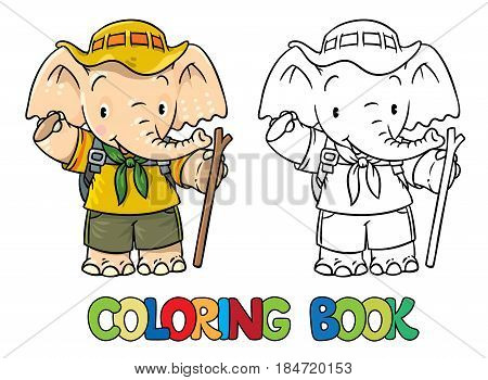 Scout. Funny baby elephant with backpack and stick. Children vector illustration. Coloring book