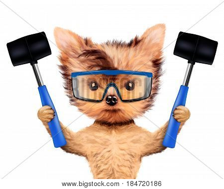 Funny dog with construction and safety glasses isolated on white background. Constructor and handyman concept. 3D illustration