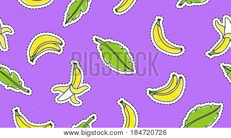 vector seamless pattern with hand drawn bananas and leaves stickers on violet background