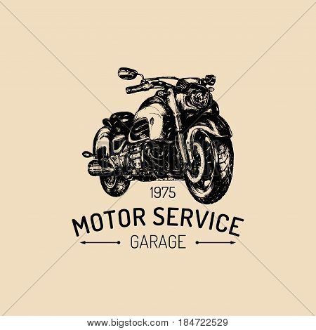 Motor Service advertising poster. Vector hand drawn motorcycle for MC sign, label. Vintage detailed biker illustration for custom company, chopper garage logo.
