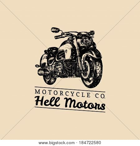 Hell Motors advertising poster. Vector hand drawn motorcycle for MC sign, label. Vintage detailed bike illustration for custom company, chopper garage logo.