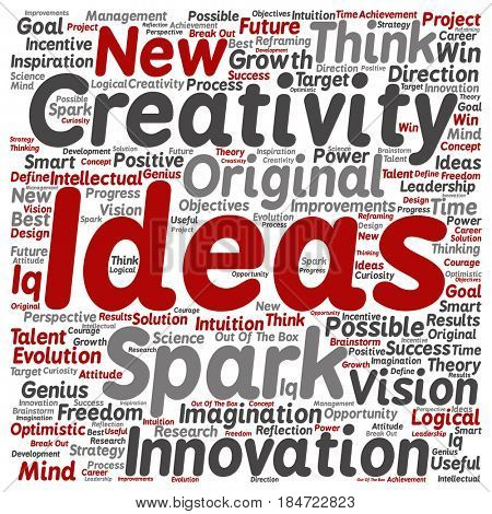 Concept or conceptual creative new idea brainstorming square word cloud isolated on background. Collage of spark creativity, original innovation vision, think, achievement or smart genius text