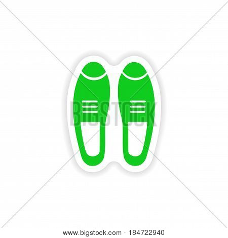 stylish paper sticker on white background male shoes