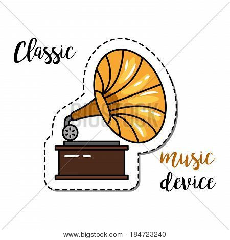 Fashion patch element with quote, Classic music device and gramophone icon. Vector illustration Vector illustration