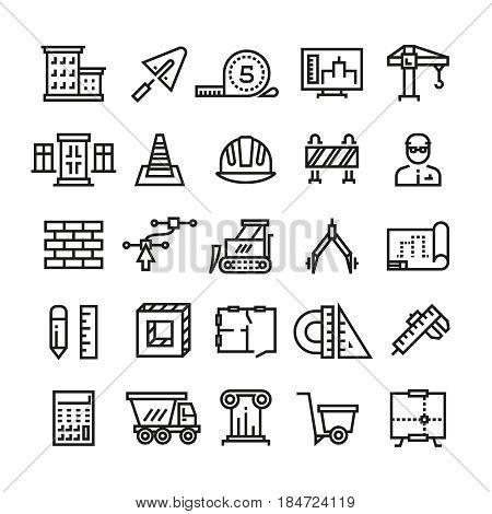 Construction industry, building house, architectural engineering and machinery thin line vector icons. Construction industry icons, illustration of house construction