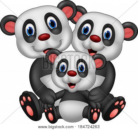 Vector illustration of Cartoon panda bear family