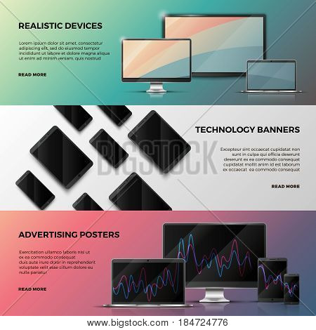Advertising vector banners with computer screen, laptop and smartphone. Web banner with realistic device computer and laptop, illustration of technology banner
