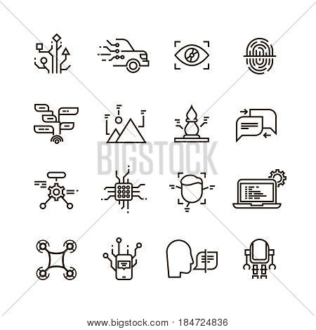 Neural network, artificial intelligence line vector icons. Face, speech and image recognition. Machine computer with artificial intelligence, illustration of neural connect with artificial intelligence