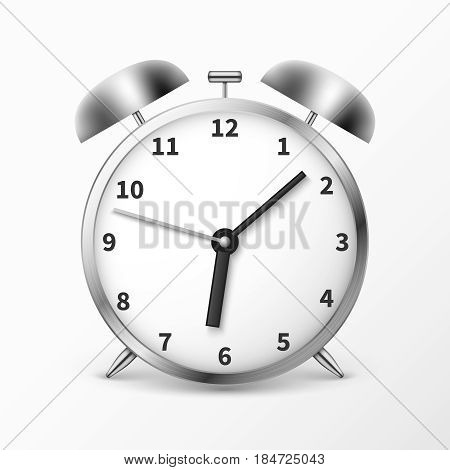 Alarm clock with bells, ringing timer vector illustration. Clock isolated on white background, mechanical clock