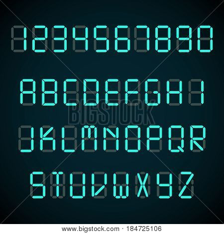 Digital font, alarm clock letters and numbers vector alphabet. Number and alphabet neon, illustration of neon letter abc