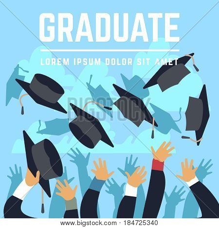 High school graduating students throw black graduation caps up in sky vector illustration. Student trow cap in air, celebration ceremony achievement education