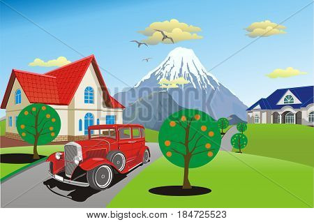 Retro car on a background of a mountain range. Countryside. The road to the cottage. Vector illustration