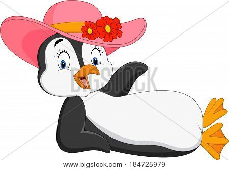 Vector illustration of Cartoon female penguin relaxing