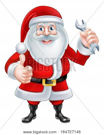 A Christmas cartoon illustration of Santa Claus holding a spanner and giving a thumbs up
