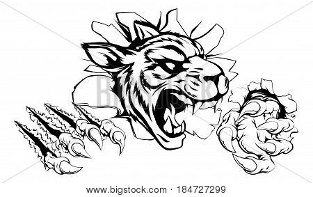 A scary tiger mascot ripping through the background with sharp claws