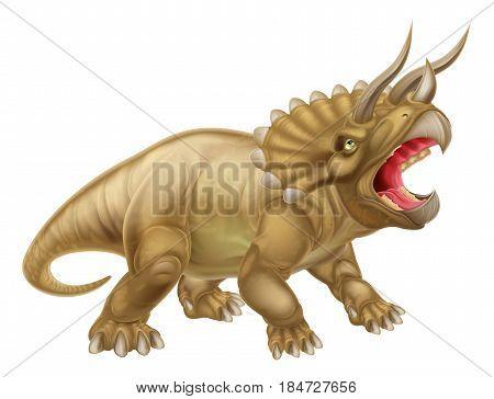A triceratops three horned prehistoric dinosaur illustration