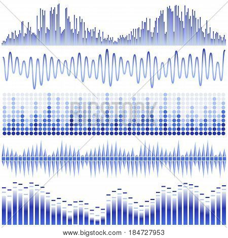 Vector set of blue sound waves. Audio equalizer. Sound & audio waves isolated on white background.
