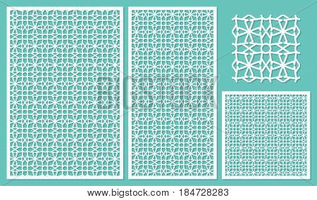 Set decorative panels laser cut. Abstract geometric pattern. Ratio 2:3, 1:2,1:1, seamless. Vector illustration.