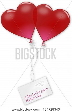 Two balloon hearts and german text for all love on mother´s day, 3D illustration
