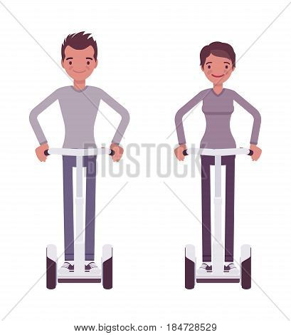 Man and woman riding a white electric scooter, modern urban eco transport, standing pose, street sightseeing, family outdoor holiday, vector flat style cartoon illustration isolated, white background