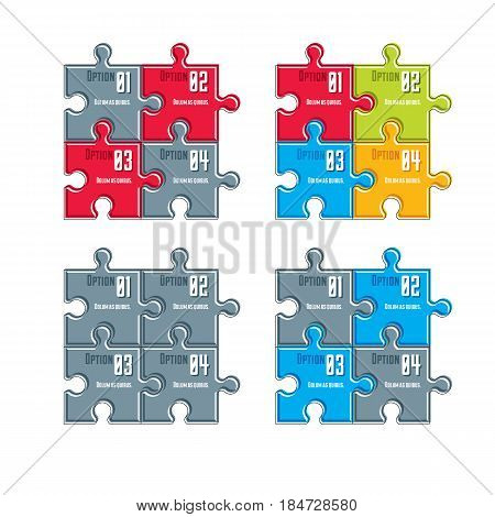 Vector Set Of Different Color Infographic Compositions With Puzzle Elements, Layout Of Jigsaw Puzzle