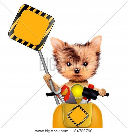 Funny dog with construction tools, road sing and scooter isolated on white background. Constructor and handyman concept. 3D illustration