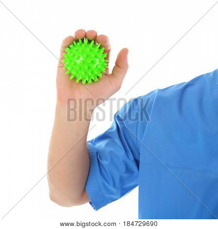 Man with stress ball on white background, closeup