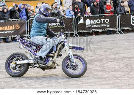 St. Petersburg Russia - 15 April, Show for the public,15 April, 2017. International Motor Show IMIS-2017 in Expoforurum. Sports motorcycle show of bikers on the open area.