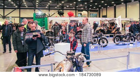 St. Petersburg Russia - 15 April, One of the halls of the motor show,15 April, 2017. International Motor Show IMIS-2017 in Expoforurum. Visitors and participants of the annual moto-salon in St. Petersburg.