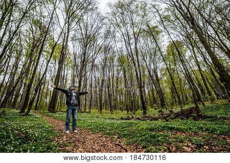 Man walking by woods trails in spring day