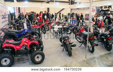 St. Petersburg Russia - 15 April, Sector of different motor vehicles,15 April, 2017. International Motor Show IMIS-2017 in Expoforurum. Visitors and participants of the annual moto-salon in St. Petersburg.
