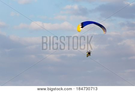 Extreme sport in the sky on a parachute